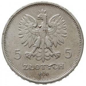 """5 złotych 1930, Warszawa, """"Nike"""", Parchimowicz 114.c, n..."""
