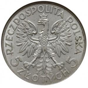 5 złotych 1932 bez znaku menniczego, Anglia, Głowa kobi...