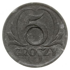 5 groszy 1939, cynk, moneta bez otworu z wyraźnie zazna...