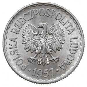 1 złoty 1957, Warszawa, Parchimowicz 213.a, aluminium, ...
