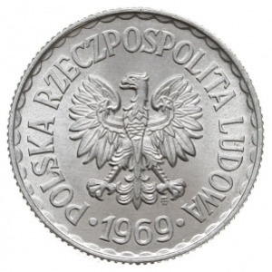 1 złoty 1969, Warszawa, Parchimowicz 213.f, aluminium, ...