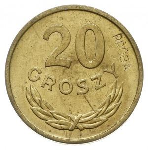 20 groszy 1957, Warszawa, na rewersie wklęsły napis PRÓ...