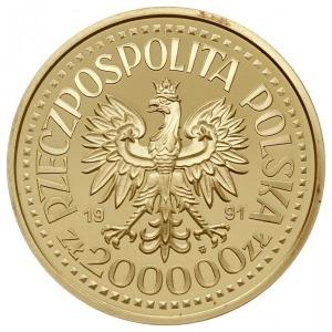 200.000 złotych 1991, Warszawa, PRÓBA Jan Paweł II, zło...
