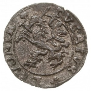 szeląg 1572, Dalholm, odmiana z trójlistkiem pod gryfem...
