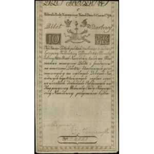 10 złotych polskich 8.06.1794, seria C, numeracja 34221...