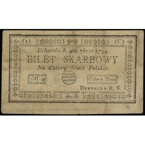 4 złote polskie 4.09.1794, seria 1-C, odmiana z odwróco...