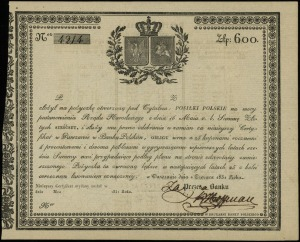Posiłki Polskie, pożyczka na 600 złotych 1.06.1831, num...