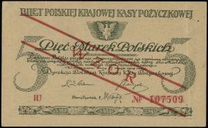 5 marek polskich 17.05.1919, seria IU, numeracja 107509...
