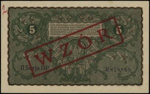 5 marek polskich 23.08.1919, czerwony nadruk WZÓR, seri...