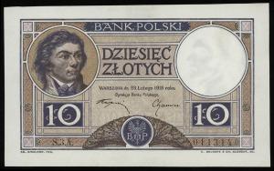 10 złotych 28.02.1919, klauzula w 9 wierszach na fiolet...