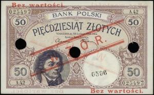 50 złotych 28.02.1919, czerwony nadruk Bez wartości / W...