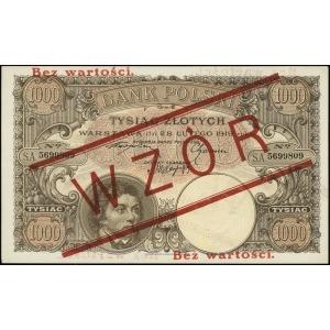 1.000 złotych 28.02.1919, czerwony nadruk Bez wartości ...