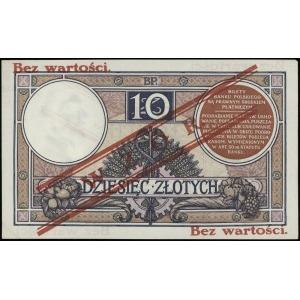 10 złotych 15.07.1924, czerwony nadruk Bez wartości / W...