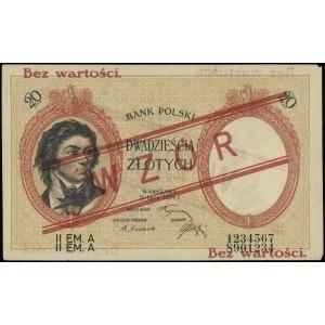 20 złotych 15.07.1924, czerwony nadruk Bez wartości / W...