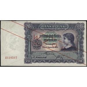 20 złotych 2.01.1928, ukośny czerwony nadruk WZÓR / BEZ...