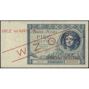 5 złotych 2.01.1930, czerwony nadruk Bez wartości / WZÓ...