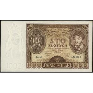 100 złotych 9.11.1934, seria AV, numeracja 6370953, dod...