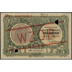 5 złotych 1.05.1925, czerwony ukośny nadruk WZÓR i pozi...