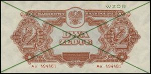 2 złote 1944, w klauzuli OBOWIĄZKOWYM, zielone dwukrotn...