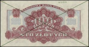 100 złotych 1944, w klauzuli OBOWIĄZKOWYM, zielone podw...
