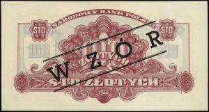 100 złotych 1944, w klauzuli OBOWIĄZKOWE, czarny ukośny...