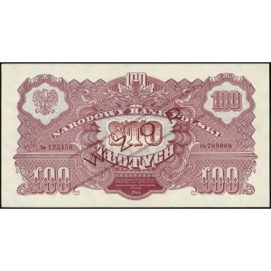 100 złotych 1944, w klauzuli OBOWIĄZKOWE, czerwony ukoś...