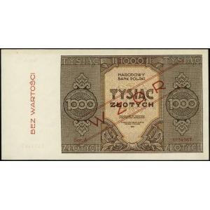 1.000 złotych 1945, czerwony ukośny nadruk WZÓR i piono...