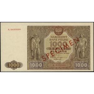 1.000 złotych 15.01.1946, czerwony ukośny nadruk SPECIM...