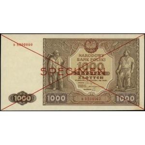 1.000 złotych 15.01.1946, czerwone dwukrotne przekreśle...