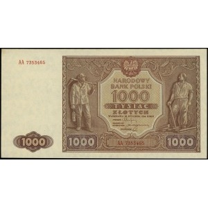 1.000 złotych 15.01.1946, seria AA, numeracja 7353465, ...