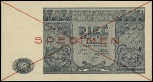 5 złotych 15.05.1946, czerwone dwukrotne przekreślenie ...