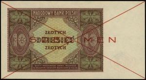 10 złotych 15.05.1946, czerwone dwukrotne przekreślenie...