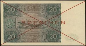 20 złotych 15.05.1946, czerwone dwukrotne przekreślenie...