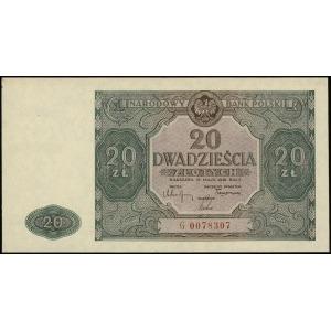 20 złotych 15.05.1946, seria G, numeracja 0078307, Luco...