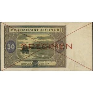 50 złotych 15.05.1946, czerwone dwukrotne przekreślenie...