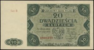 20 złotych 15.07.1947, seria B numeracja 0800199, Lucow...