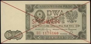 2 złote 1.07.1948, czerwone dwukrotne przekreślenie i p...