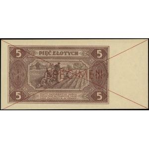 5 złotych 1.07.1948, czerwone dwukrotne przekleślenie i...