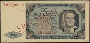 20 złotych 1.07.1948, czerwone dwukrotne przekreślenie ...