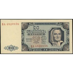 20 złotych 1.07.1948, seria BA, numeracja 4820858, Luco...