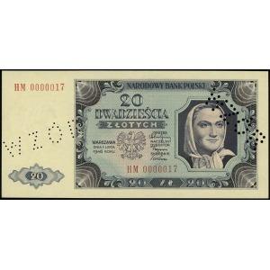 20 złotych 1.07.1948, dwukrotna ukośna perforacja WZÓR ...
