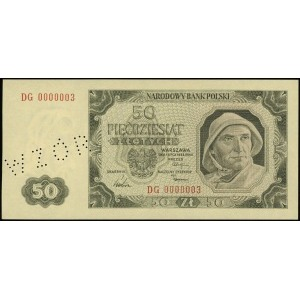 50 złotych 1.07.1948, ukośna perforacja WZÓR, seria DG,...