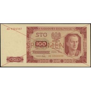 100 złotych 1.07.1948, czerwone dwukrotne przekreślenie...