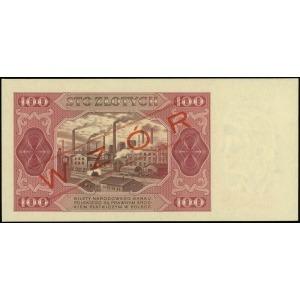 100 złotych 1.07.1948, czerwony ukośny nadruk WZÓR, ser...