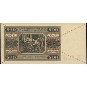 500 złotych 1.07.1948, czerwone dwukrotne przekreślenie...