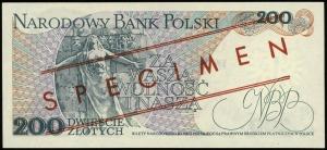 200 złotych 25.05.1976, czerwone ukośne WZÓR / SPECIMEN...