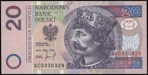 20 złotych 25.03.1994, seria GC 0330329 oraz GC 0330829...