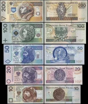 zestaw banknotów z początkową serią: 10, 20, 50, 100 i ...