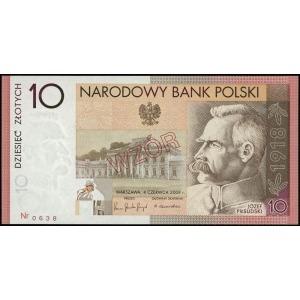 10 złotych, 4.06.2008, Józef Piłsudski - 90. rocznica o...