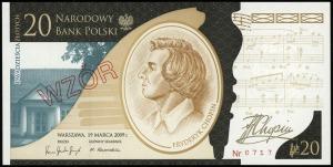 20 złotych, 19.03.2009, Fryderyk Chopin - 200. rocznica...